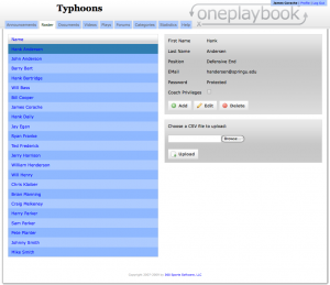 "Here is a normal OnePlaybook's team's roster.  Notice on the right hand side, the second gray area reads ""Choose a CSV file to upload."""