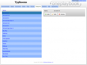 A typical football team's categories for OnePlaybook.